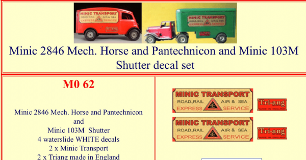 M062 Tri-ang ( Triang ) 2846 Mechanical Horse and Pantechnicon and Minic 103M shutter decal set